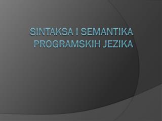 Sintaksa i semantika programskih jezika