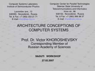 ARCHITECTURE CONCEPTIONS OF COMPUTER SYSTEMS
