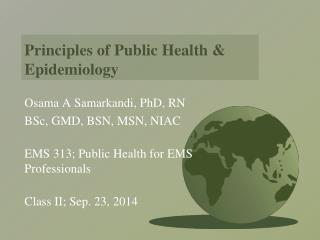 Principles of Public Health & Epidemiology