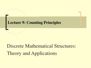 Lecture 9: Counting Principles