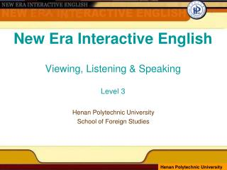 New Era Interactive English Viewing, Listening & Speaking Level 3