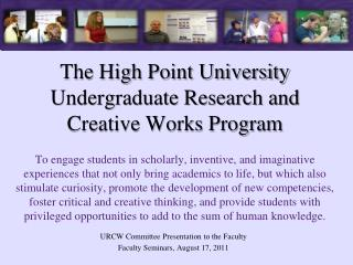 URCW Committee Presentation to the Faculty Faculty Seminars, August 17, 2011