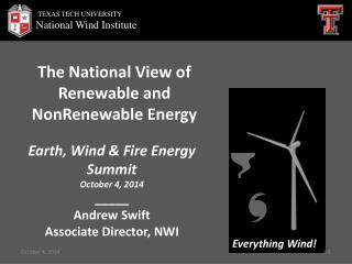 The  National View of Renewable and  NonRenewable  Energy
