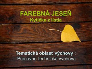 FAREBNÁ JESEŇ Kytička z lístia Tematická oblasť výchovy :  Pracovno-technická výchova