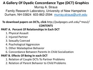 A Gallery Of Dyadic  Concordance  Type  ( DCT) Graphics Murray  A. Straus