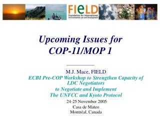 Upcoming Issues for  COP-11/MOP 1 ______________
