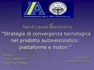 Tesi di Laurea specialistica: