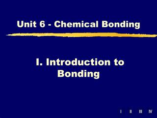 I. Introduction to Bonding