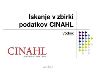 Iskanje v zbirki podatkov CINAHL