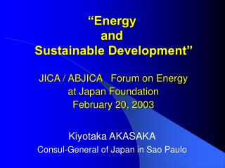 �Energy and  Sustainable Development�