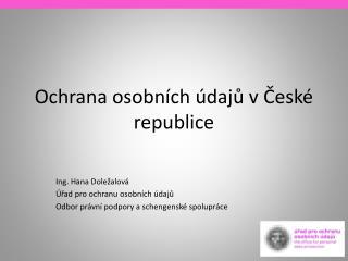 Ochrana osobních údajů v České republice