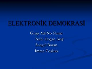 ELEKTRONİK DEMOKRASİ