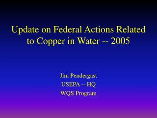 Update on Federal Actions Related to Copper in Water -- 2005