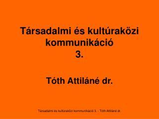 Társadalmi és kultúraközi kommunikáció 3 .