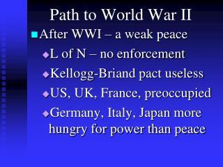 Path to World War II
