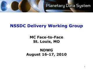 NSSDC Delivery Working Group