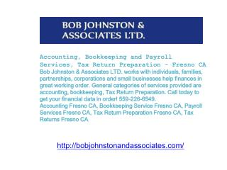 Accounting, Bookkeeping and Payroll Services, Tax Return Pre
