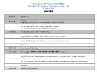 Introducing TEMPUS and ERASMUS+ Faculty of Economics – Damascus University 25 May 2014 Agenda