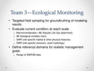 Team 3—Ecological Monitoring