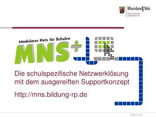 Die schulspezifische Netzwerklösung mit dem ausgereiften Supportkonzept mns.bildung-rp.de
