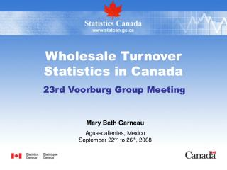 Wholesale Turnover Statistics in Canada