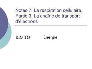 Notes 7: La respiration cellulaire.  Partie 3: La chaîne de transport d'électrons