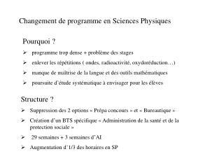 Changement de programme en Sciences Physiques