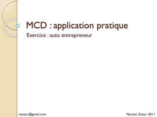 MCD : application pratique