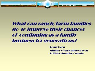 What can ranch/farm families do  to improve their chances of  continuing as a family