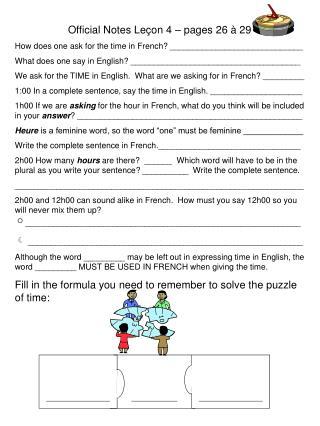 Official Notes Leçon 4 – pages 26 à 29