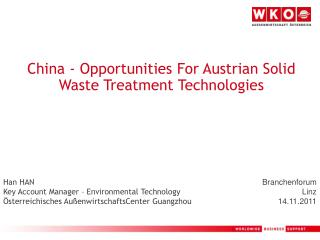 China - Opportunities For Austrian Solid Waste Treatment Technologies
