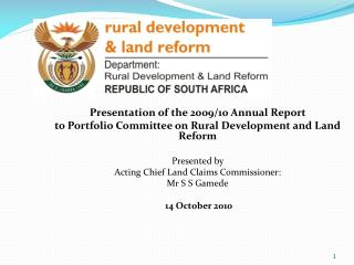Presentation of the 2009/10 Annual Report