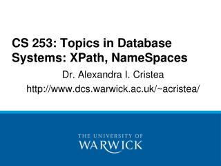 CS 253: Topics in Database Systems: XPath, NameSpaces