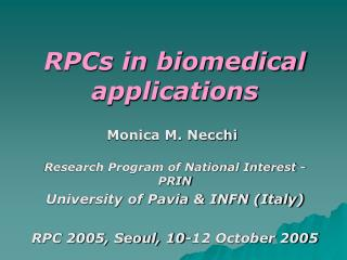 RPCs in biomedical applications