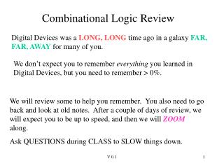 Combinational Logic Review