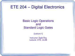 ETE 204 � Digital Electronics