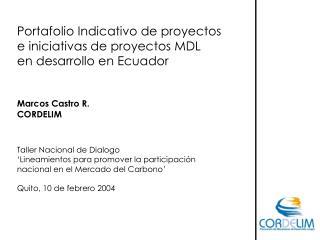 Portafolio Indicativo de proyectos  e iniciativas de proyectos MDL  en desarrollo en Ecuador