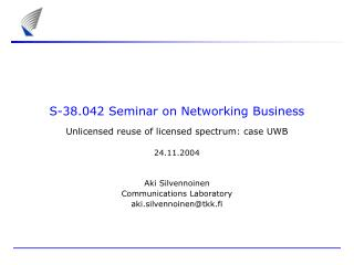 S-38.042 Seminar on Networking Business