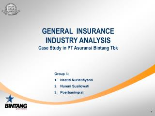 GENERAL  INSURANCE INDUSTRY ANALYSIS