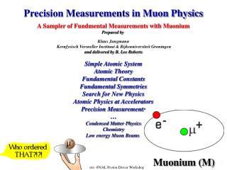 Precision Measurements in Muon Physics A Sampler of Fundmental Measurements with Muonium