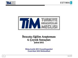 İhracatçı Eğilim Araştırması 4 .  Çeyrek Sonuçları Şubat 2012 Ekim-Aralık 2011  Gerçekleşmeleri