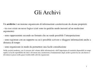 Gli Archivi