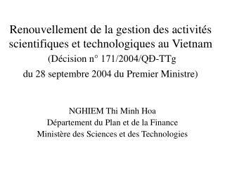 NGHIEM Thi Minh Hoa Département du Plan et de la Finance