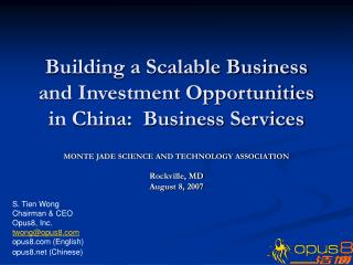 Building a Scalable Business and Investment Opportunities in China:  Business Services