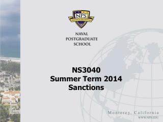 NS3040  Summer Term 2014 Sanctions