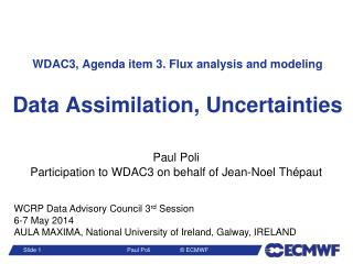 WDAC3, Agenda item 3. Flux  analysis and  modeling Data Assimilation, Uncertainties