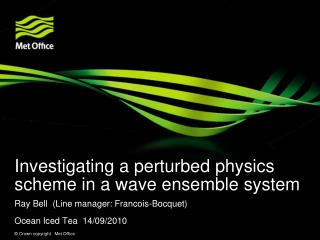Investigating a perturbed physics scheme in a wave ensemble system