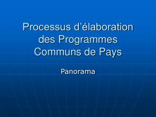 Processus d��laboration des Programmes Communs de Pays