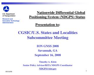 Nationwide Differential Global Positioning System (NDGPS) Status