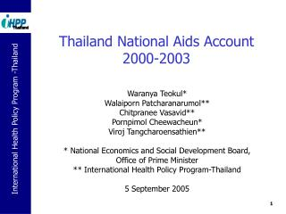 Thailand National Aids Account 2000-2003